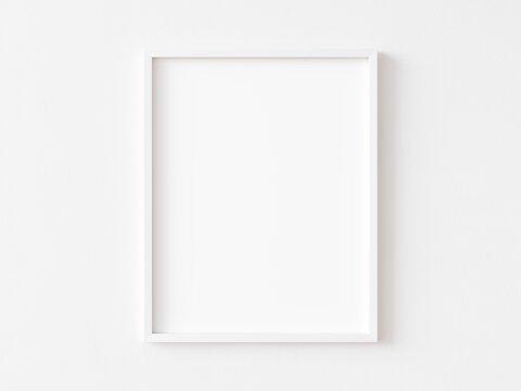 White vertical frame on white wall. 3d illustration.
