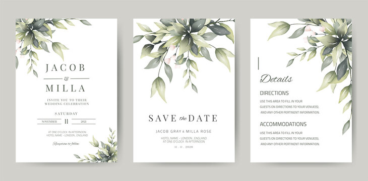 wedding invitation template card set with greenery watercolor leave and branch