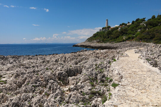 Lighthouse from coastal walk round the beautiful Cap-Ferrat peninsula in south of France