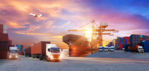 Logistics and transportation of Container Cargo ship and Cargo plane with working crane bridge in...
