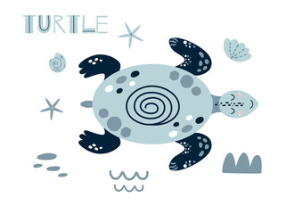 Cute turtle cartoon. Cute baby ocean animal girls boys summer sea element Kids nautical print cute blue turtle Illustration