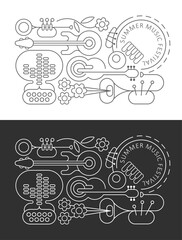 Line art designs isolated on a dark grey and on a white backgrounds Summer Music Festival vector illustration.