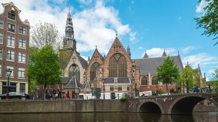 Wall Mural - Amsterdam city with Oude Church in Amsterdam, Netherlands