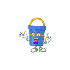 Wall Mural - Cartoon character design of nerd blue sand bucket with weird glasses