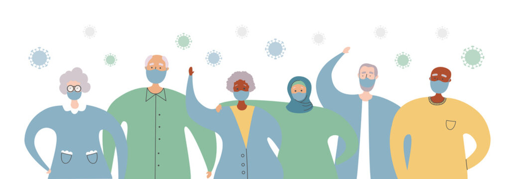 Old people of different races stand together against Coronavirus. Protect senior adults from Covid-19 infection. Elderly people in face masks and Corona virus cells around. Healthcare for oldies.
