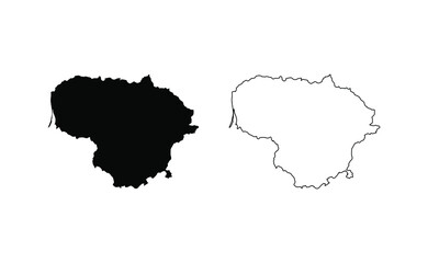 Lithuania map silhouette line country Europe map illustration vector outline European isolated on white background
