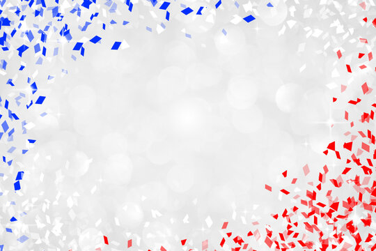 abstract blur silver background with blue and red confetti color for 4th of July celebration independence day design concept