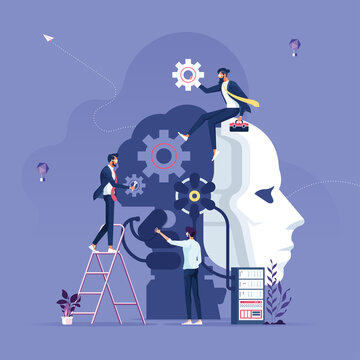 Business team creating artificial intelligence-Machine learning and artificial intelligence concept