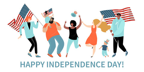 Happy Fourth of July. USA Independence Day greeting banner template with cheerful adults and kids with America flags.