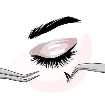 Lash extension beautican procedure, lash stylist make faux eyelash extention, professional beauty service. Permanent Natural eyelashes application courses, training, masterclass. Volume, long lashes