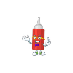 Wall Mural - Cartoon character design of nerd sauce bottle with weird glasses