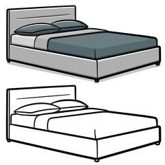 Vector double bed cartoon isolated