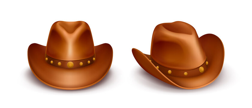 Realistic vector illustration of brown cowboy hats with band across the top, isolated on white background. Stetson of sheriff, leather rancher or cattleman cap. USA western style. Wild west concept.