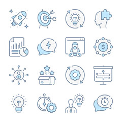 Startup and Creative ideas related blue line colored icons. Launch of the project icon set.