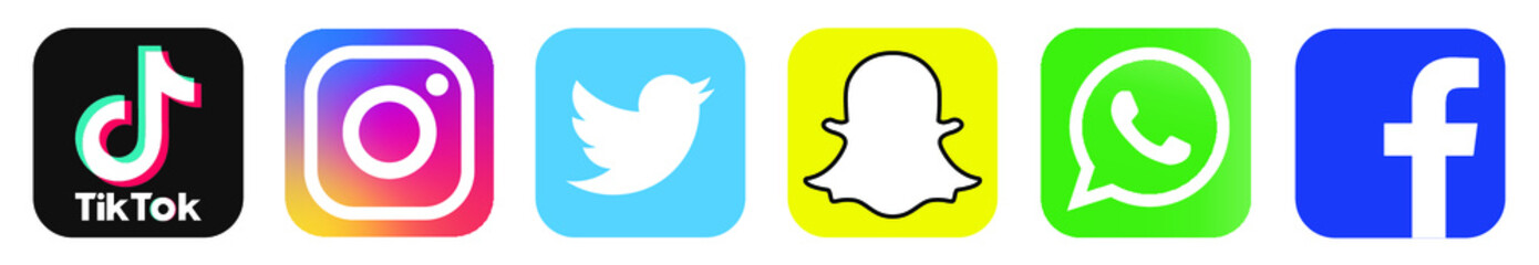 Collection of popular social media logo: Facebook, twitter, instagram, tiktok, snap chat, WhatsApp. Social media icons. Realistic set. Vector illustration. Berlin, Germany - June 03, 2020