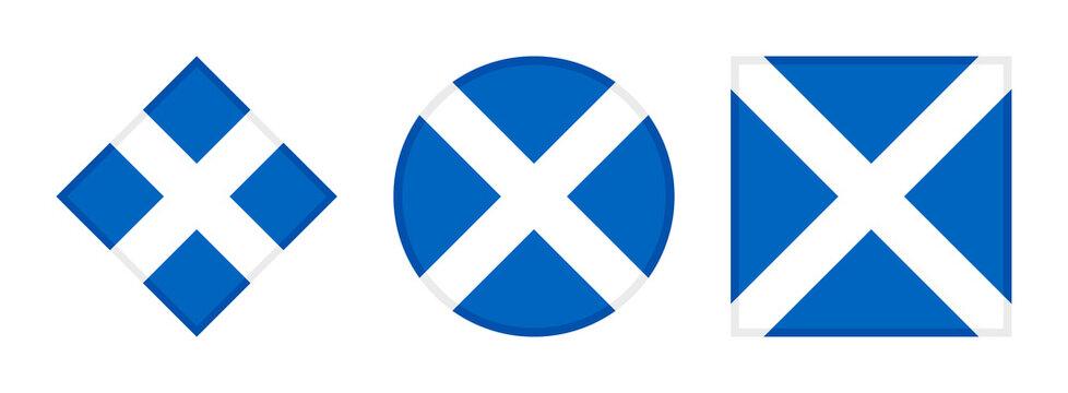 scotland flag icon set. isolated on white background