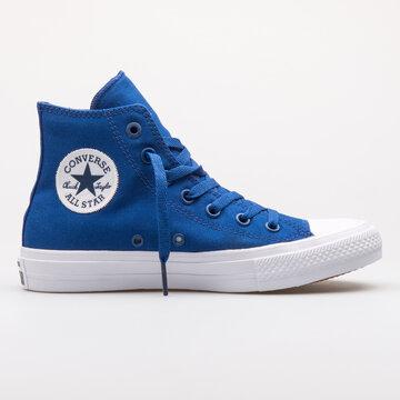 VIENNA, AUSTRIA - AUGUST 23, 2017: Converse Chuck Taylor All Star 2 High blue sneaker on white background.