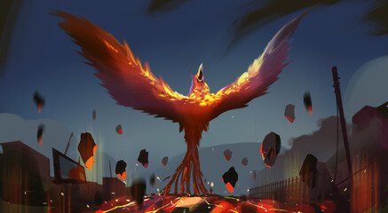 Digital illustration painting design style phoenix summoning from lava and ruins city.