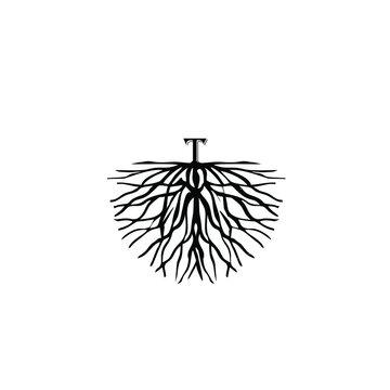 illustration of letter T on root logo vector