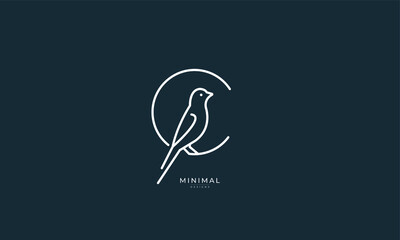 A line art icon logo of a Bird inside a letter C