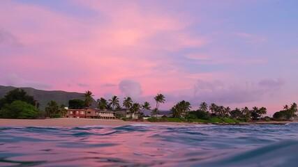 Wall Mural - Pink sunset in Hawaii, USA