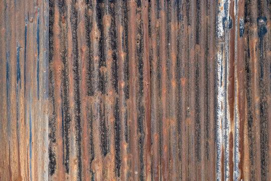Rusty corrugated  galvanized iron plate