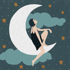 Illustration of woman sitting on moon