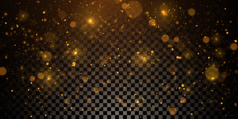 Obraz Sparkling golden particles, glowing bokeh lights isolated on dark transparent background - fototapety do salonu