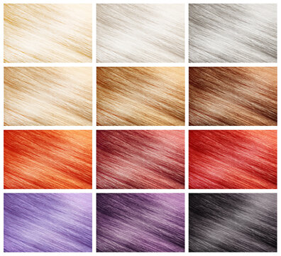 Collage with color hair samples on white background