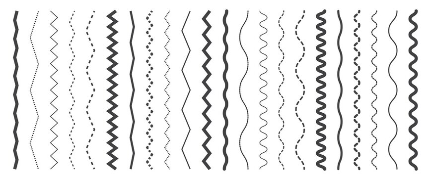 Seamless wavy zigzag line set. Graphic design elements collection for decoration. Vertical curvy squiggles