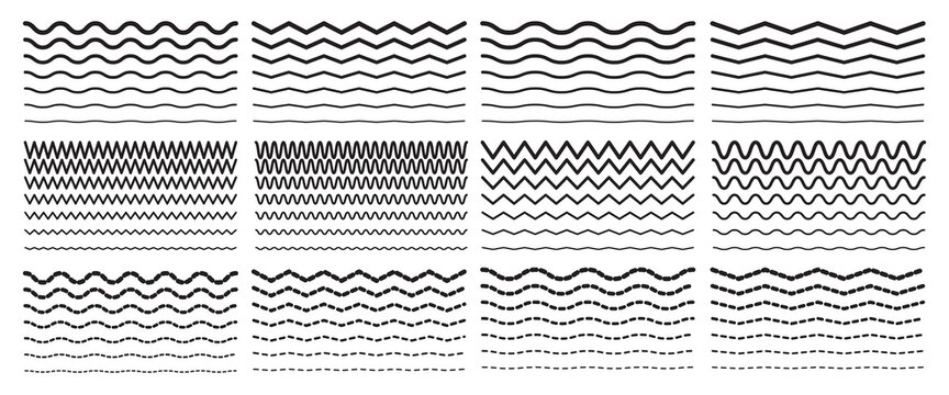 Seamless wavy zigzag line set. Graphic design border elements collection for decoration.