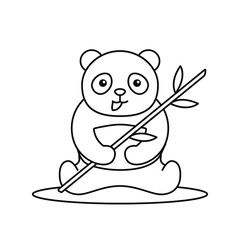 Wall Murals Baby room cute fat panda sit eating bamboo leaf outline drawing illustration for preschool kids coloring book vector graphic