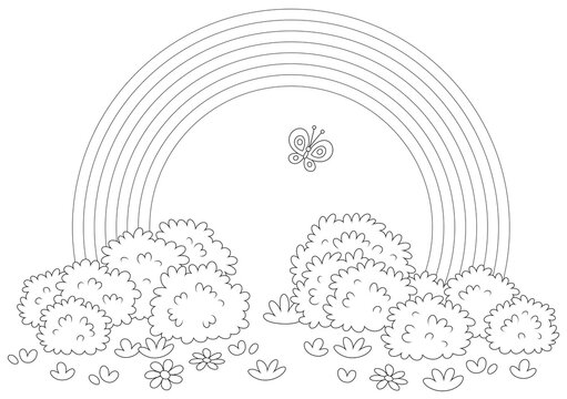 Rainbow and a cheerful butterfly flittering over a field with flowers and bushes after warm summer rain, black and white outline vector cartoon illustration for a coloring book page