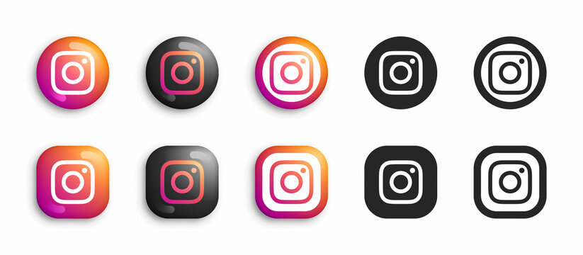 Instagram Modern 3D And Flat Icons Set Vector Isolated On White Background. Popular Social Media Network Logo In Different Styles For Digital Business