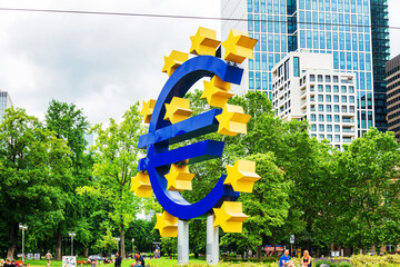 Frankfurt, Germany - June 12, 2019: Euro Sign. European Central Bank (ECB) is the central bank for the euro and administers the monetary policy of the Eurozone in Frankfurt, Germany.