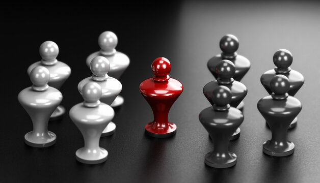 Concept of pawns representing conflict between groups and one mediator in the middle.