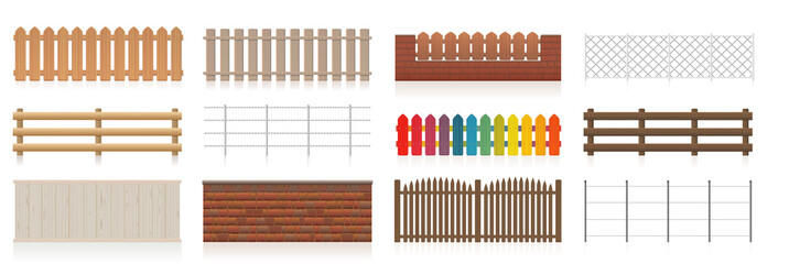 Different fences. Collection of fences like wooden, garden, electric, picket, pasture, wire fence, wall, barbwire and other railings. Isolated vector illustration on white background.