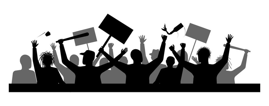 A protest or demonstration. Demand from the crowd. Disturbances in the city. Strike or outrage people. Danger for residents and businesses.