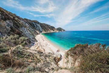 Italy, Elba island panoramic view of beautiful bay with emerald water and idyllic beach, Tuscany, Italy.