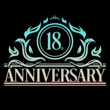 Luxury 18th anniversary Logo illustration vector