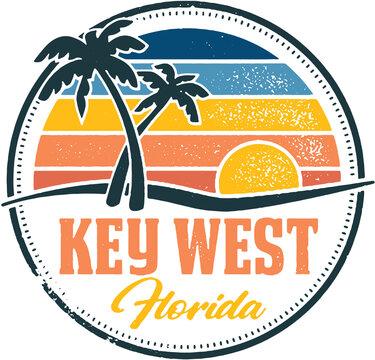 Key West Florida Vintage Travel Stamp