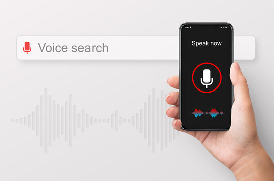 Female Hand Holding Smart Phone Using Voice Search, White Background