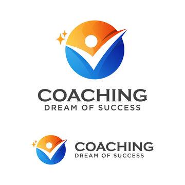 Coach success logo design, coaching Dream of success logo design vector template