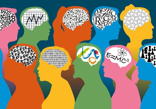 Concept de la diversité des talents et des savoirs-faire, avec des profils de personnages masculins et féminins associés à des cerveaux différents.