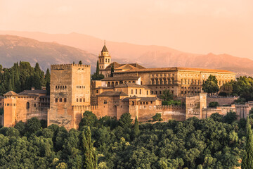 Granada, Andalusia, Spain: Panoramic view of The Alhambra fortress complex with the Nasrid Palaces and Generalife a UNESCO World Heritage Site.