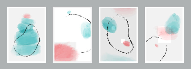 Abstract minimalist vector poster set. Collection of hand painted illustration background for stylish decoration