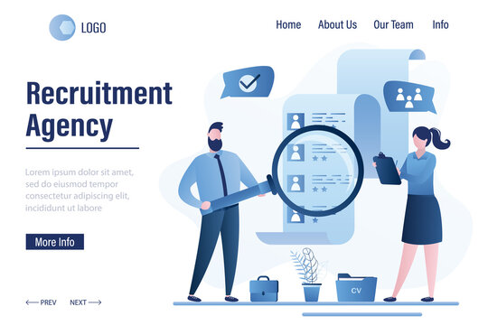 Recruitment agency landing page template. Business people select staff. Resume of candidates with avatars.