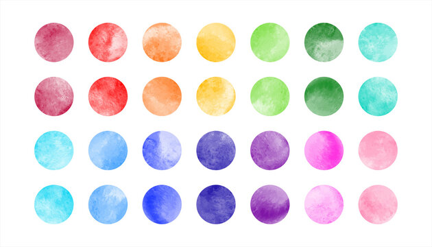 Watercolor circle shape stains, smears vector collection. Bright rainbow colors hand drawn spots, round smudges set. Colorful watercolour paint big dots illustration, design elements. Text background.