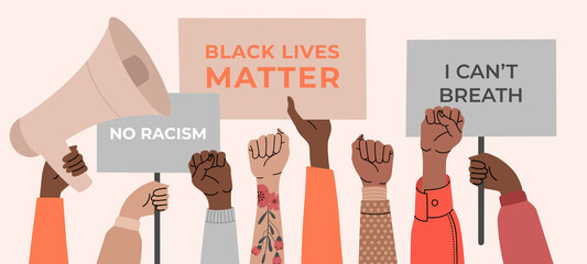 Black lives matter, crowd of people protesting for their rights. Holding posters in hands, no racism banner. Vector illustration in flat cartoon style on isolated background.