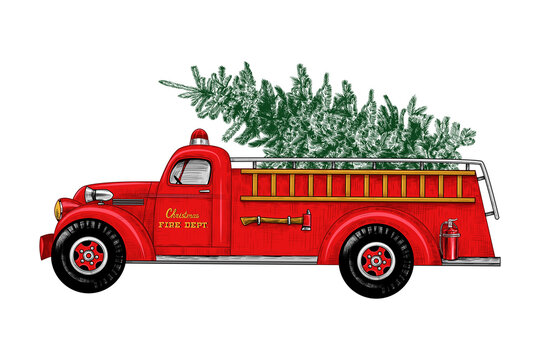 ..Christmas fire engine. Vintage Fire Truck with a Christmas tree on a white background. Retro card. Color sketch.